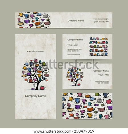 Art tree with mugs and cups. Business cards design. Vector illustration - stock vector