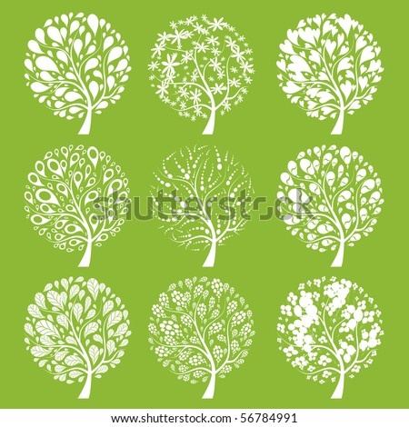 Art trees collection for your design - stock vector