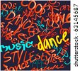 art urban graffiti vector background with words dance, style and music - stock photo