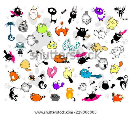 Art vector collection of 44 cats and a 1 mouse