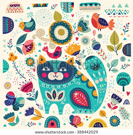 Art vector colorful illustration with beautiful cat, butterflies, birds and flowers. Art poster for decoration your interior and for use in your unique design - stock vector