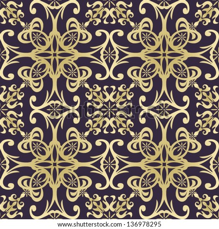 art vintage damask seamless pattern, golden ornament on dark background in vector - stock vector