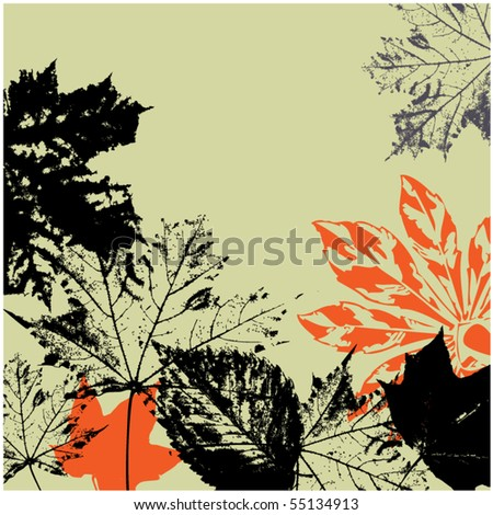 art vintage floral autumn background with sketching leaves - stock vector