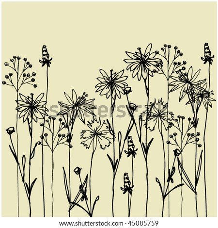 art vintage floral hand drawing background with space for text, for family holidays
