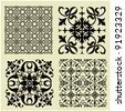 art vintage vector set 4 of damask  pattern background - stock vector