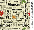 art vintage word background with month names; seamless pattern - stock vector