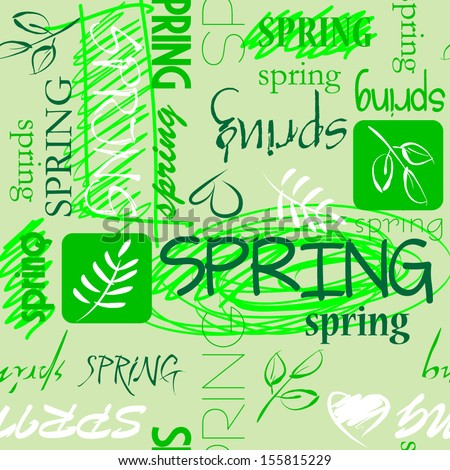 art vintage word pattern spring background in green and  white colors - stock vector