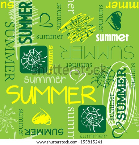 art vintage word pattern summer background in green, white and  yellow colors - stock vector