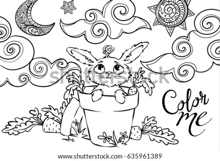 Art With Cute Rabbit In The Garden Pots And Carrots Coloring Book Vector