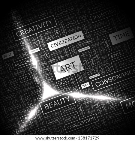 ART. Word cloud illustration. Tag cloud concept collage. Vector text illustration.