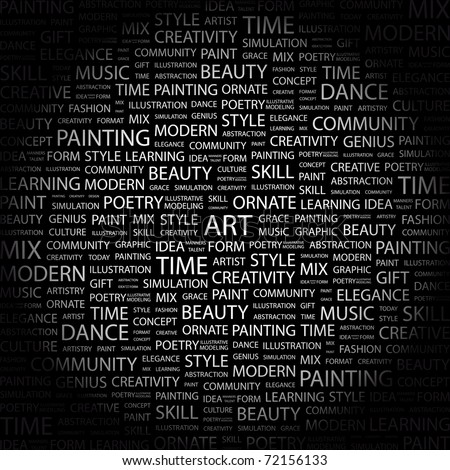 ART. Word collage on black background. Vector illustration. Illustration with different association terms.