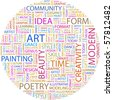 ART. Word collage on white background. Illustration with different association terms. - stock photo