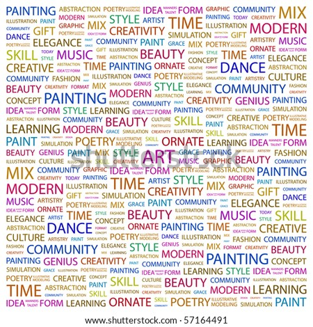 ART. Word collage on white background. Illustration with different association terms.