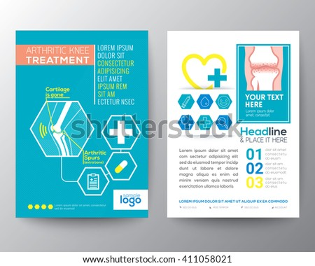 Arthritic Knee Treatment Health Care and Medical Poster Brochure Flyer design Layout vector template in A4 size - stock vector