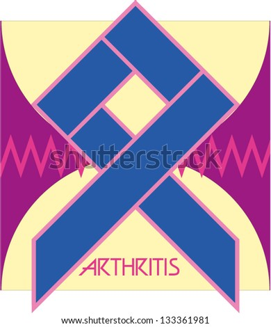 arthritis,blue ribbon against the chart and two spherical bones