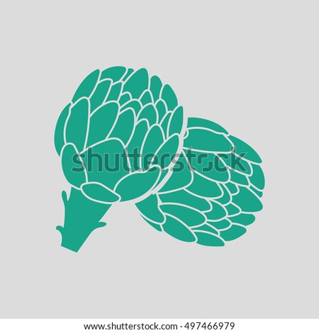 Artichoke icon. Gray background with green. Vector illustration.