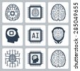 Artificial intelligence and robot related vector icon set - stock vector