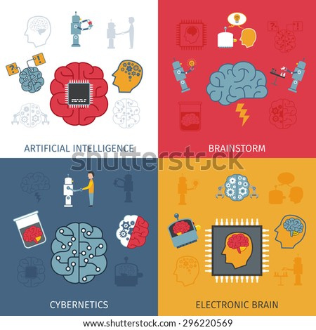 Artificial intelligence design concept set with electronic brain flat icons isolated vector illustration - stock vector
