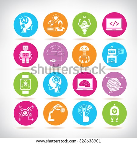artificial intelligence icons, robot icons - stock vector