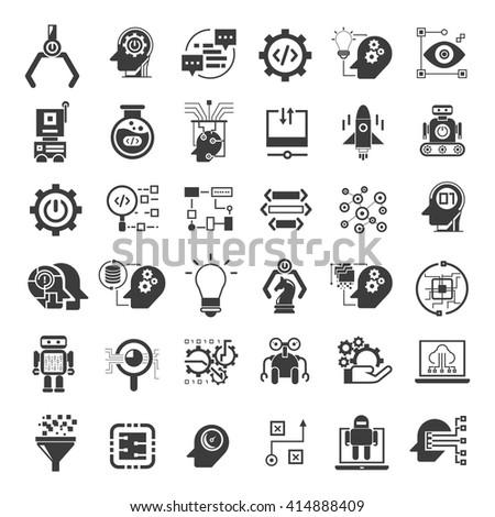 artificial intelligence icons set, robotics icons - stock vector