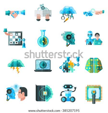 Artificial intelligence icons set with robot laptop and keyboard flat isolated vector illustration  - stock vector