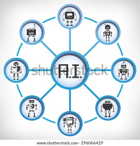 artificial intelligence technology, robot - stock vector