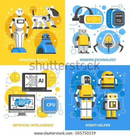 Artificial intelligence 2x2 design concept of modern technology with smart machine personal robots and ai signs flat vector illustration