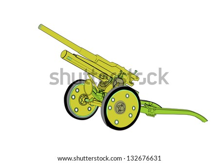 Artillery cannon 47 mm, painted army green - stock vector