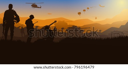 Artillery silhouettes vector illustration, Military vector illustration, Army soldiers, Cavalry silhouettes vector, Military silhouettes background.