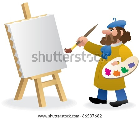 Artist: An artist, just starting a new painting. No transparency used. Basic (linear) gradients used. - stock vector