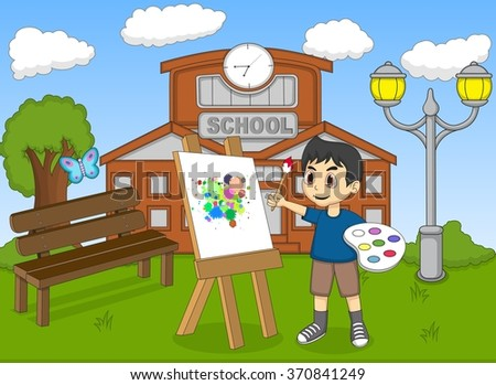 artist boy painting on canvas in front of his school cartoon vector illustration