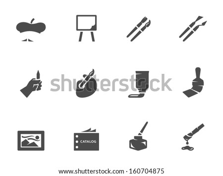 Artist icons in black & white - stock vector