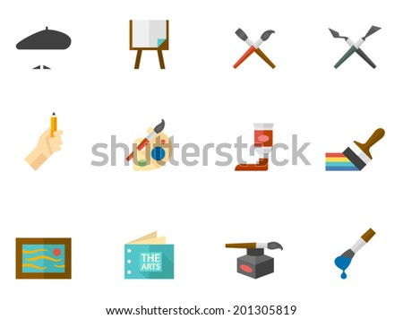 Artist icons in flat colors style.  - stock vector