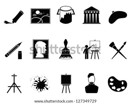 artist icons set - stock vector