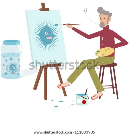 Artist Man painting bacteria on canvas