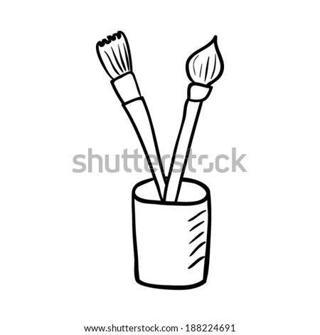 Artist paint brushes. Vector sketch illustration. - stock vector