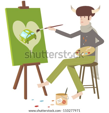 Artist painting on canvas with easel