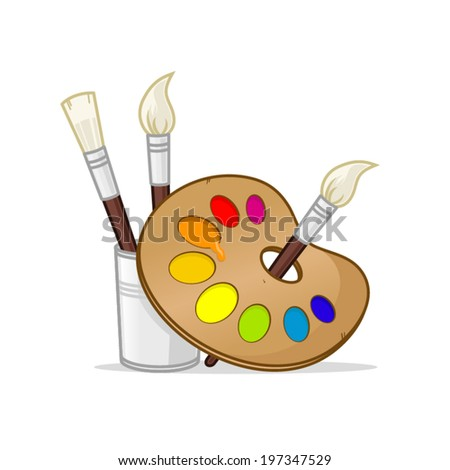 Artist palette with paintbrushes vector illustration - stock vector