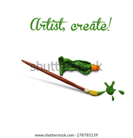 Artist poster with brush and tube of paint. Vector illustration. Plasticine modeling.
