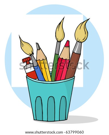 Artist Pot With  Pencils And Paintbrushes