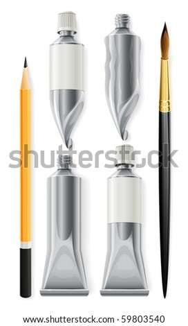 artist tools pencil brush and tubes with paint - stock vector