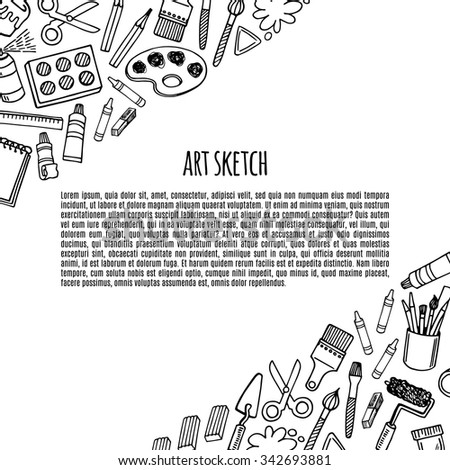Artist tools sketch hand drawn banner white and black vector. Art background.