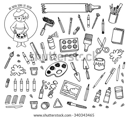 Artist tools sketch hand drawn set vector white and black desing. Art background. - stock vector