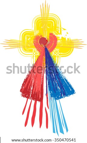 Artistic abstract watercolor symbol of Sacred Heart of Jesus Christ and Divine Mercy - stock vector