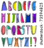 Artistic alphabet - stock vector