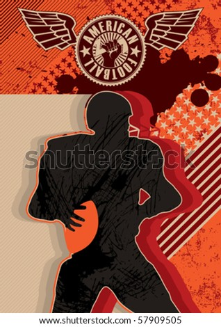 Artistic American football poster with designed graphic elements. Vector illustration. - stock vector