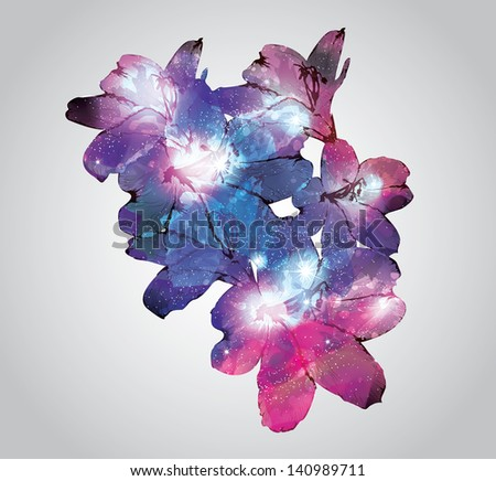 Artistic and stylish flower design with a space background - stock vector