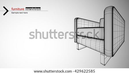 Artistic architecture furniture design. Modern curved shape structure furniture piece. - stock vector
