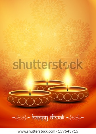 artistic background design in orange color for diwali festival with beautiful lamp. vector illustration - stock vector