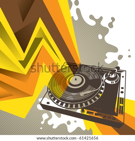 Artistic background with stylized turntable. Vector illustration. - stock vector